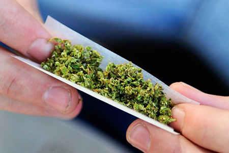 марихуана в руках
