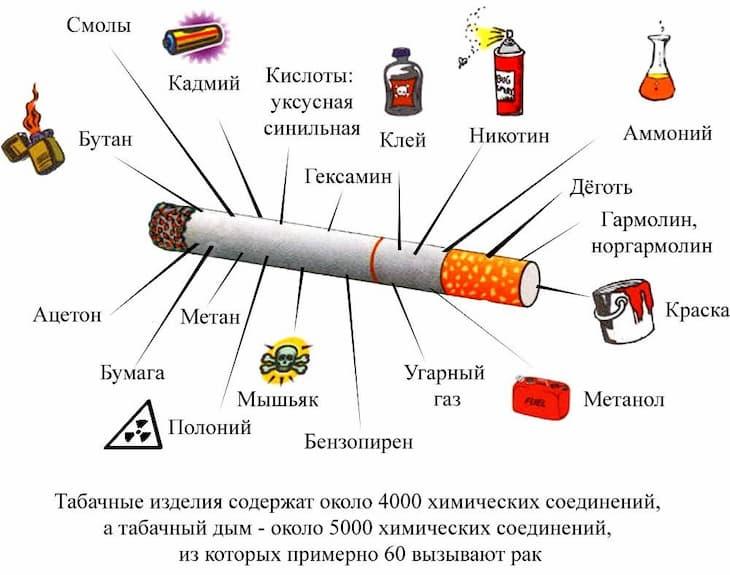 Влияние курения на организм обусловлено составом сигарет