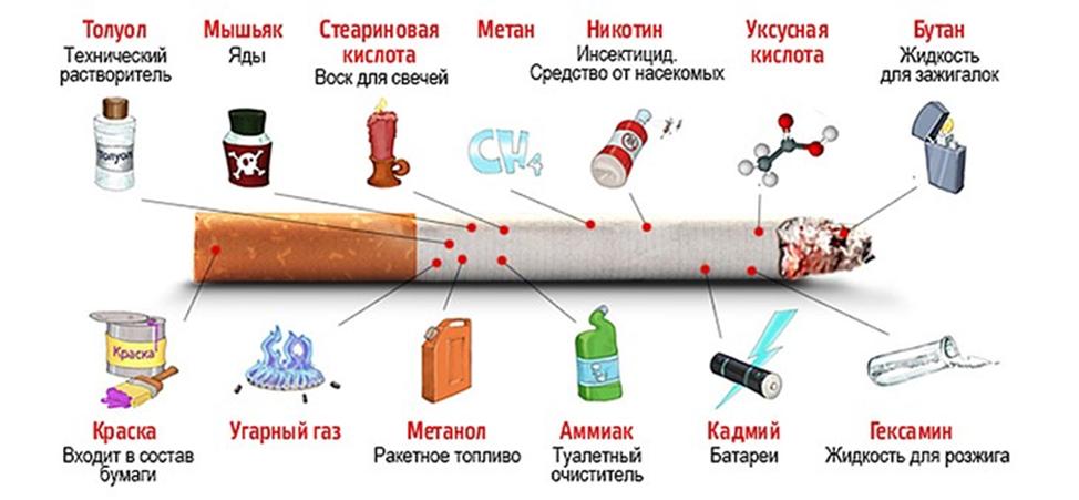 Вред курения исходит из состава сигарет